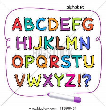 Cartoon Colorful Doodle Alphabet