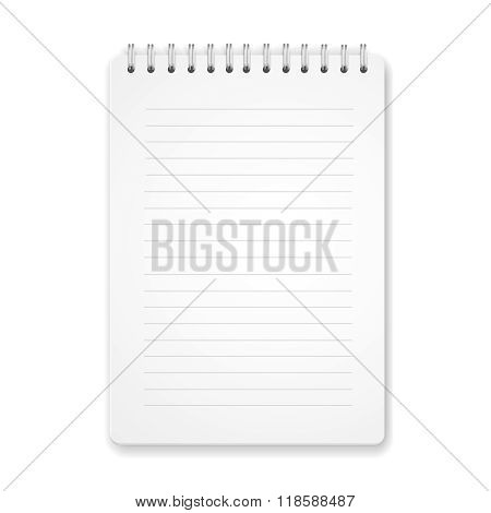 Blank vertical spiral notebook on white background Vector illustration.