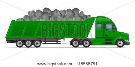 Truck Semi Trailer Delivery And Transportation Of Construction Materials Concept Vector Illustration
