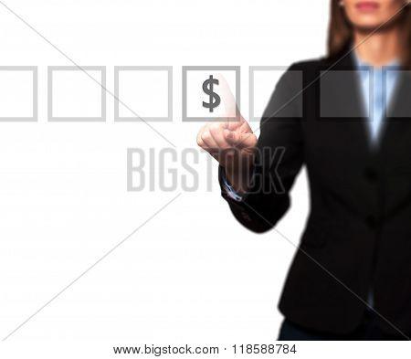 Businesswoman Hand Press Dollar Icon Button On Visual Screen