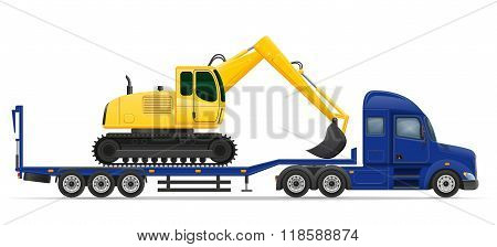 Truck Semi Trailer Delivery And Transportation Of Construction Machinery Concept Vector Illustration