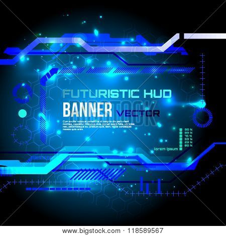 Futuristic banner, technology background,interface, HUD,  vector