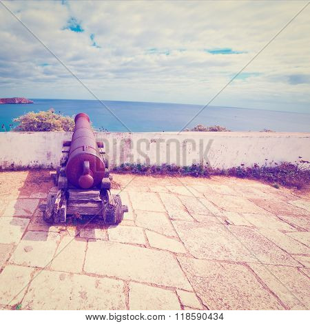 Old Rusty Cannon Guarding the Portuguese Fortress Sagres  Retro Effect