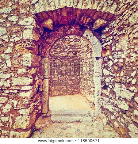 Entrance to the Portuguese Fortress on the Deserted Beach of the Atlantic Ocean Retro Effect