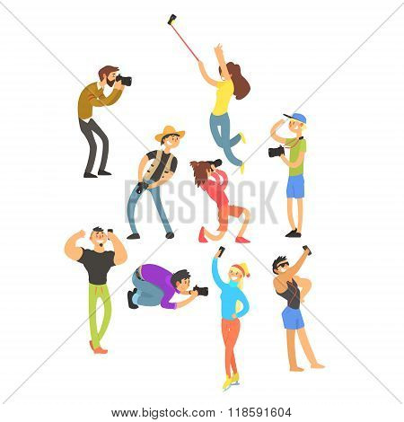 People Posing while Photographer Taking Photos. Vector Illustration Set
