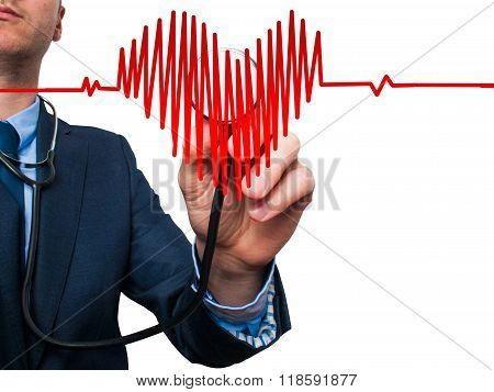 Closeup Portrait Handsome Business Man, Male Corporate Employee, Worker Listening To  Heart With Ste
