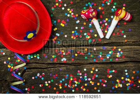 Colorful Confetti On Wood, Rustic