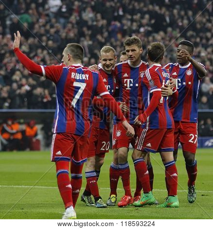 MUNICH, GERMANY - MARCH 11 2015: Bayern Munich's forward Thomas Muller celebrates scoring a goal during the UEFA Champions League match between Bayern Munich and FC Shakhtar Donetsk.