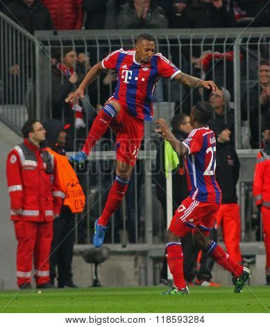 MUNICH, GERMANY - MARCH 11 2015: Bayern Munich's defender Jerome Boateng celebrates scoring a goal during the UEFA Champions League match between Bayern Munich and FC Shakhtar Donetsk.