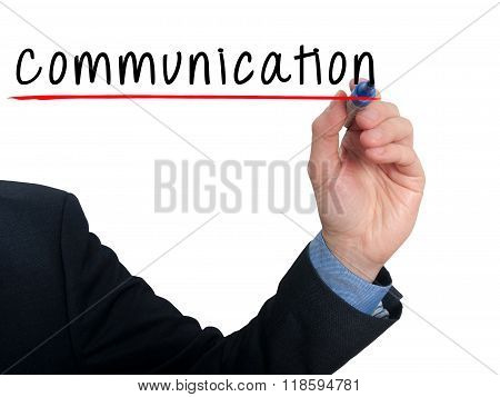 Businessman Hand Writing Communication Concept - White - Stock Photo
