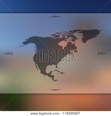 Blur background with silhouette of North America