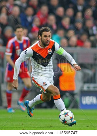 MUNICH, GERMANY - MARCH 11 2015: Shaktar's defender Darijo Srna runs with the ball during the UEFA Champions League match between Bayern Munich and FC Shakhtar Donetsk.