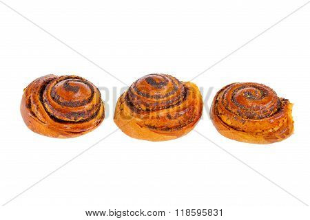 Butter Tasty Bun With Poppy Seeds On A White Background