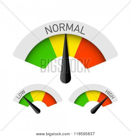 Low, normal and high gauges. Vector.