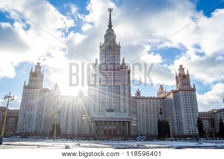 View on the building of Moscow University. Moscow Russia.