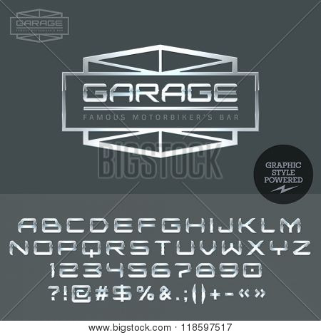 Silver logo for motor service for elite cars. Vector set of letters, numbers and symbols.
