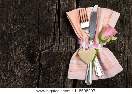 Cutlery For Valentine's Day On Wooden