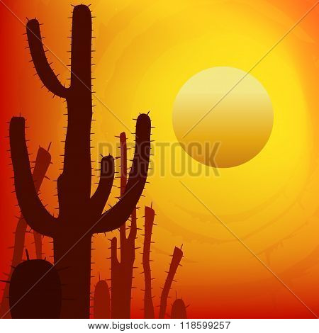 Sunset with Saguaro Cactus. Vector background.