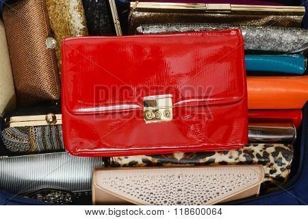 lot of colorful hand purses, a whole background