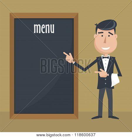 Funny Cartoon Waiter With Menu.
