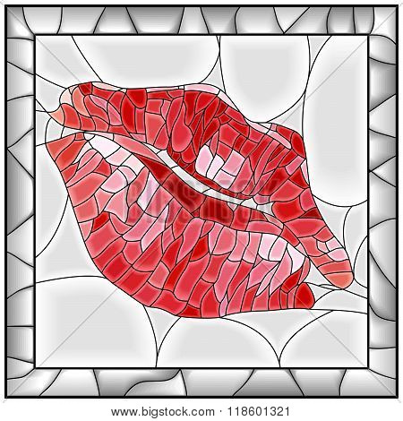 Mosaic Vector Illustration Of Lip Imprint.