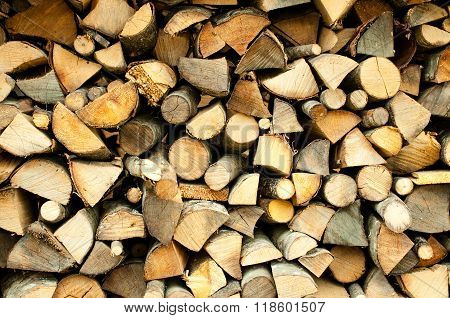 Chopped firewood stacked and ready to be used in a fireplace or a campfire
