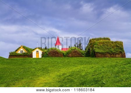 The village ancestors. The reconstituted village early settlers in Iceland. Roofs of houses covered with turf and grass