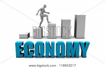 Economy 3D Concept  in Blue with Bar Chart Graph
