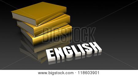 English Subject with a Pile of Education Books