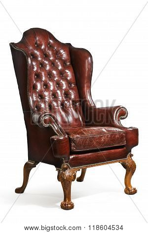 Antique Leather Wing Chair Carved Legs Isolated