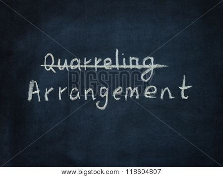 Word Arrangement and crossed out word Quarreling