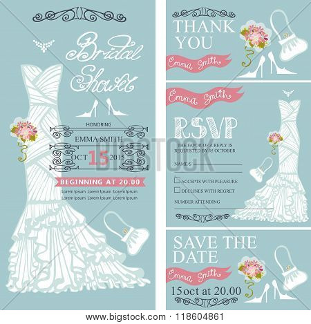 Bridal shower invitations.Wedding Dress,decor