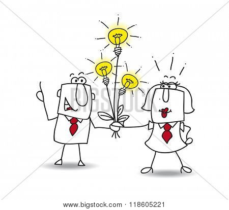 Joe the businessman gives a bouquet of ideas bulbs. this is a metaphor for someone who shares ideas