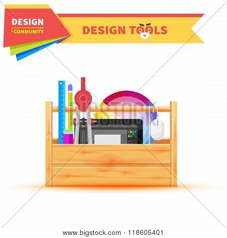 Design Tools in Wood Box Graphic Tablet