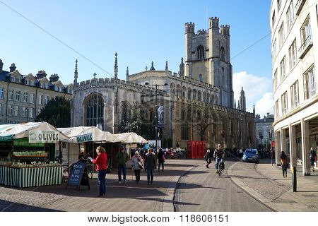 Market Square And Great St Mary's Church, Cambridge, England