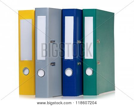 Bright office folders isolated on white background