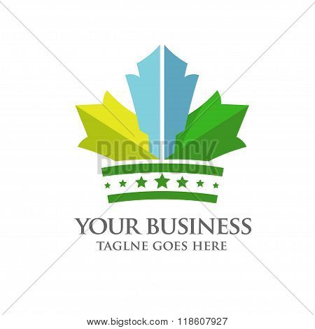 modern and colorfull crown of Maple Leaf logo vector