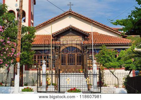 The church in Ouranoupoli town on Athos peninsula, Halkidiki, Greece