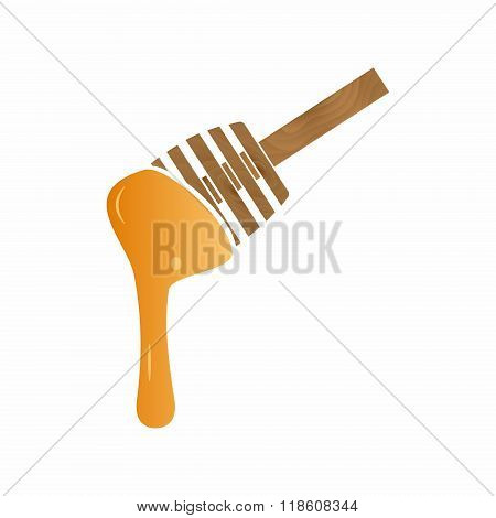 Wood Ladle Stick With Honey Flowing Down Eps10
