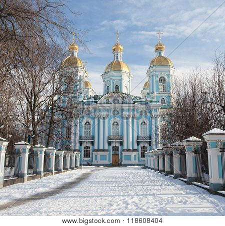 St. Nicholas Naval Cathedral in winter. Saint-Petersburg. Russia
