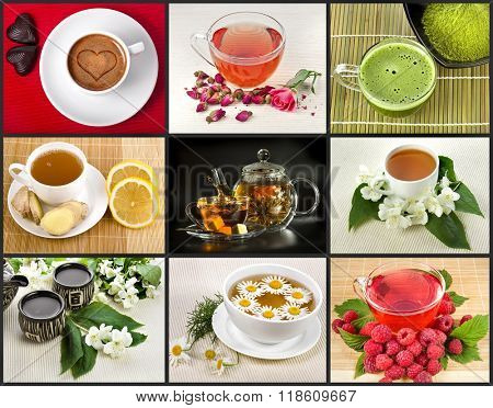 Collection set with different herbal drink tea in cap close up