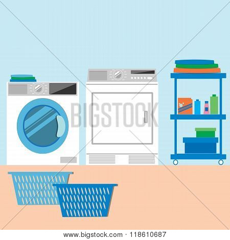 Laundry Room Flat Style Vector Illustration.