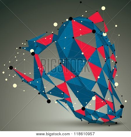 Spatial Vector Colorful Digital Object, 3D Technology Figure With Geometric Elements And Wireframe.