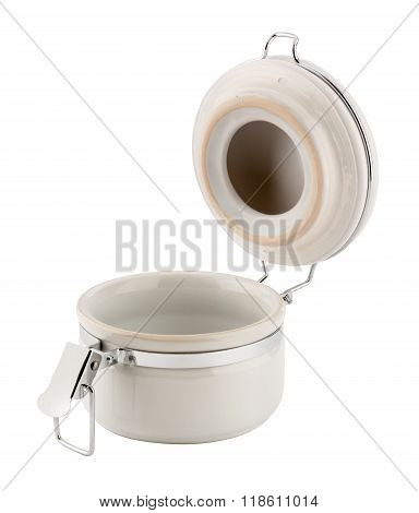Open Ceramic Canister With Metal Clamp