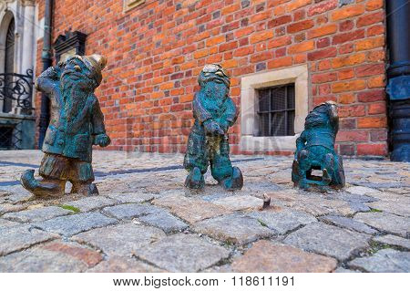 Sculpture Of Gnome  In Wroclaw,