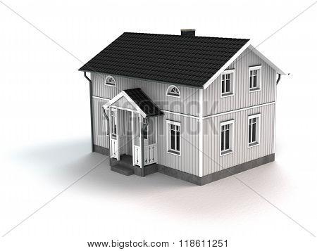 white wooden cottage on white