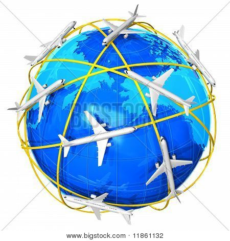 International air travel concept