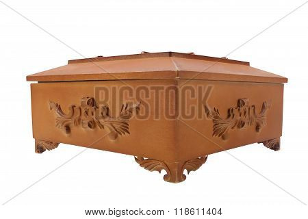 Isolated wooden casket.