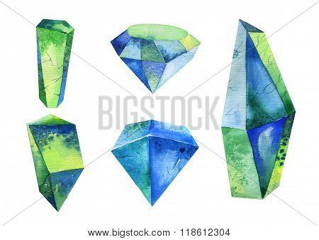 Watercolor crystal, mineral, gem set