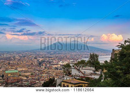 Napoli  And Mount Vesuvius In  Italy